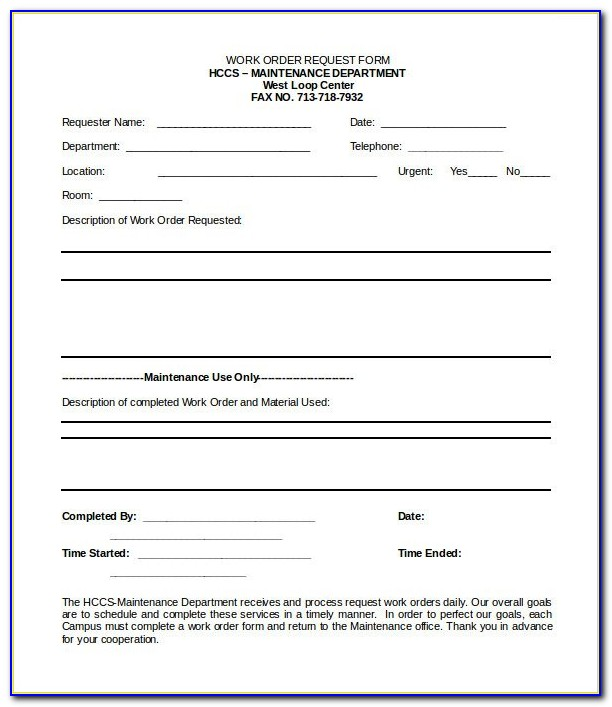 Service Work Order Form Template