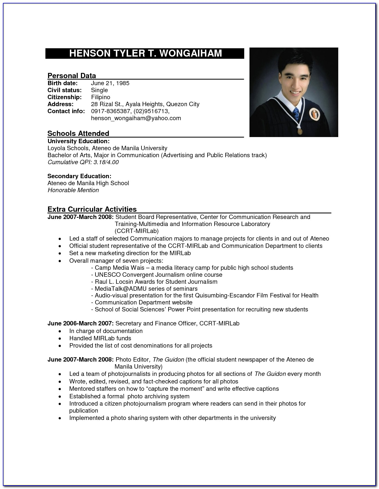 Sexamples Of Resume Format For Freshers