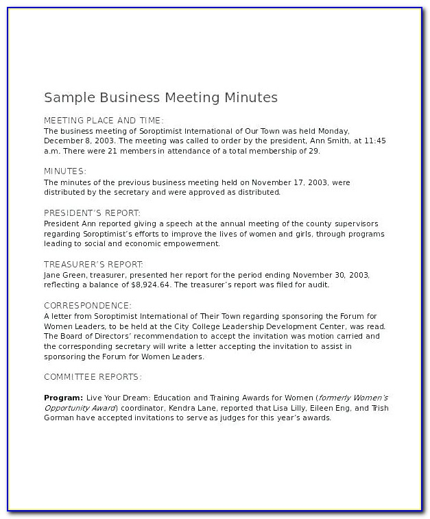 Shareholder Meeting Minutes Form