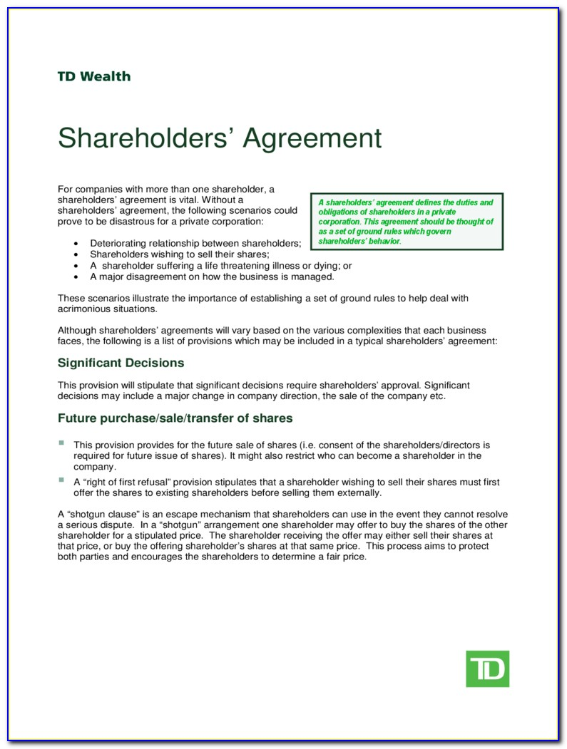 Shareholders Agreement Simple Form