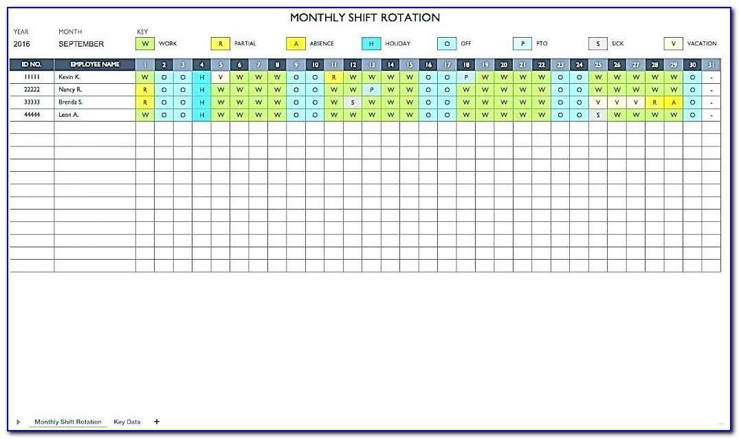 Shift Scheduling Template Excel