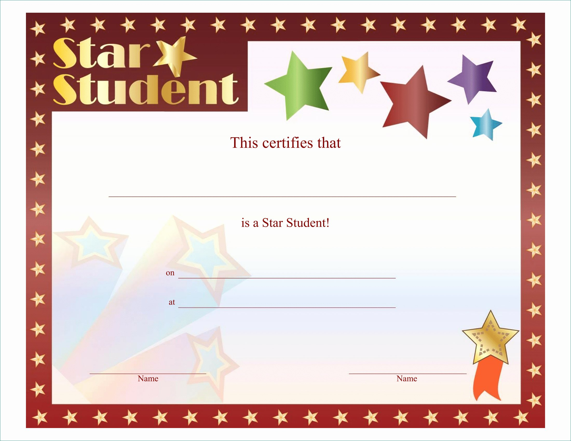 Shining Star Award Certificate Template
