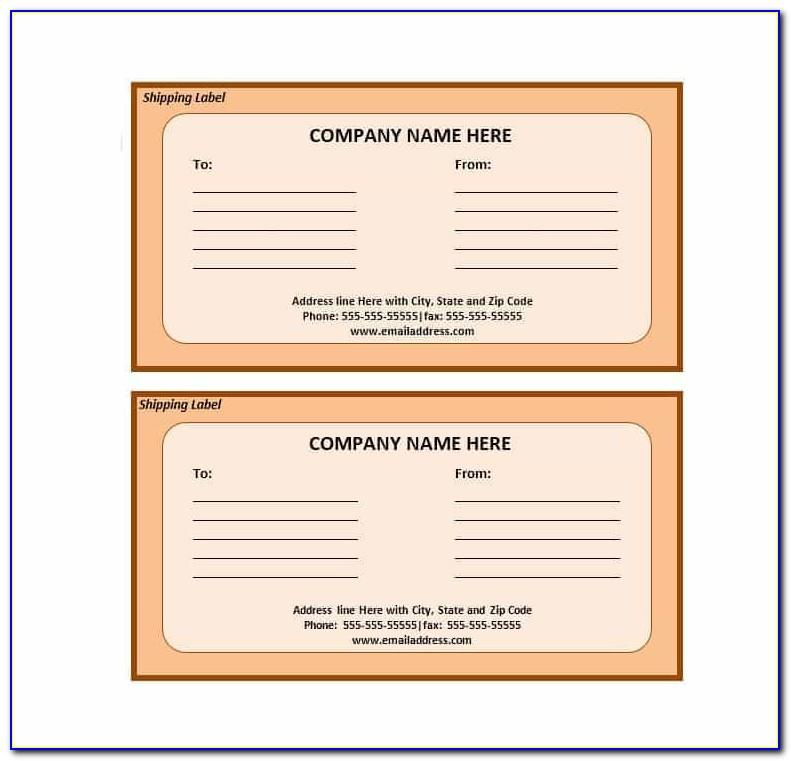 Shipping Address Label Template