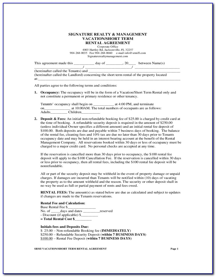 Short Term Rental Agreement Form Ontario