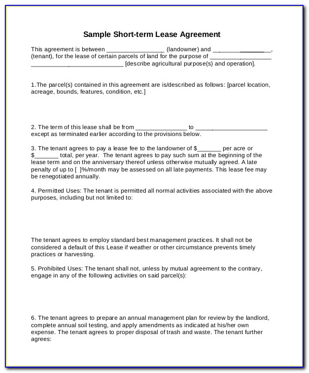 Short Term Rental Agreement Template Free