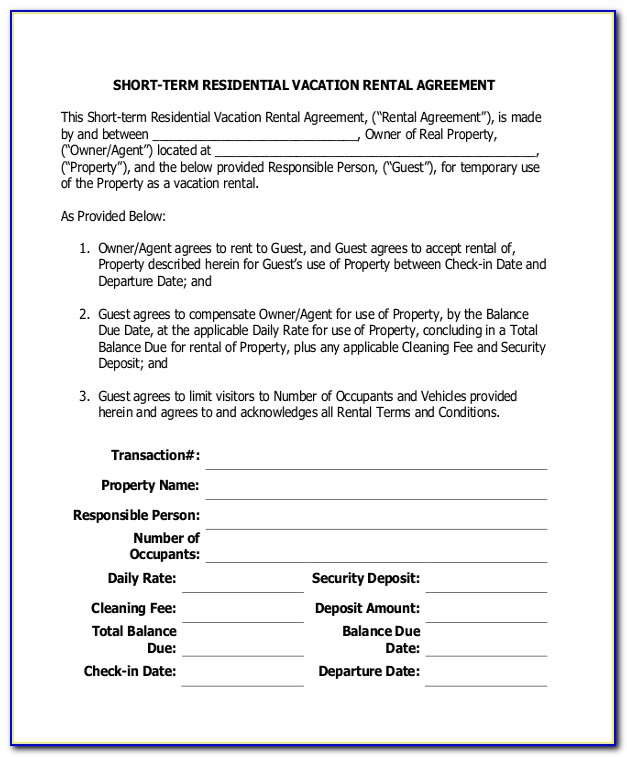 Short Term Tenancy Agreement Template Scotland