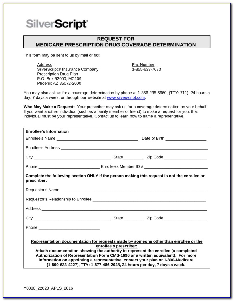Silver Script Pharmacy Prior Authorization Form