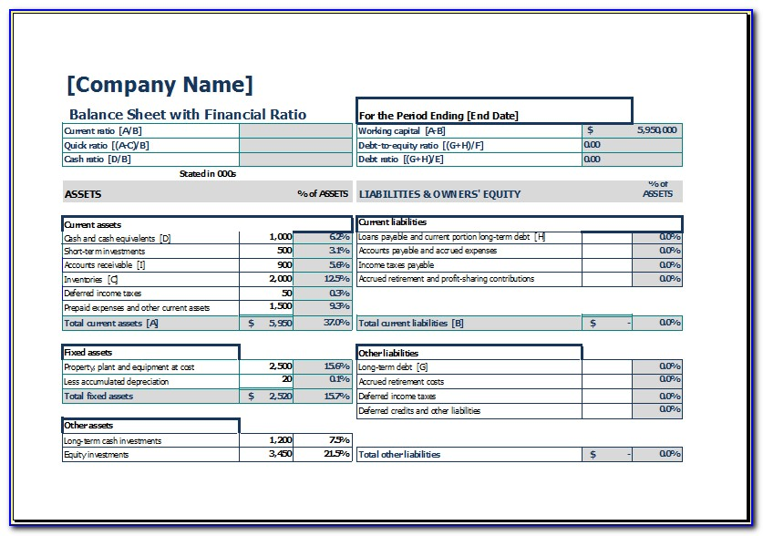 Simple Balance Sheet Template Pdf