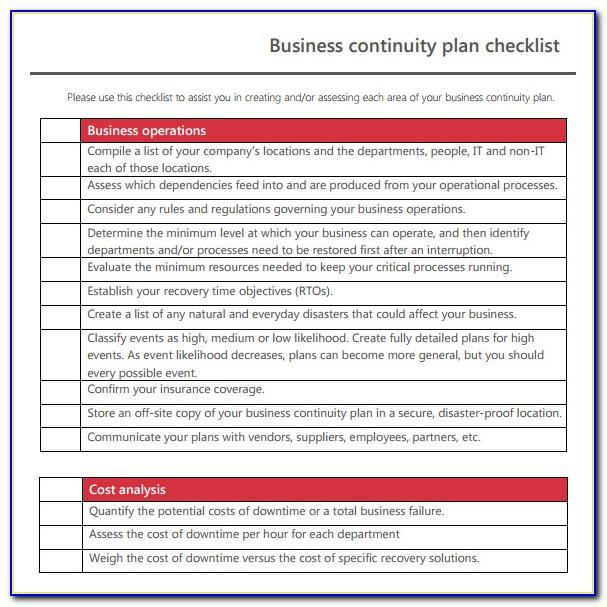 Simple Business Continuity Plan Template For Manufacturing