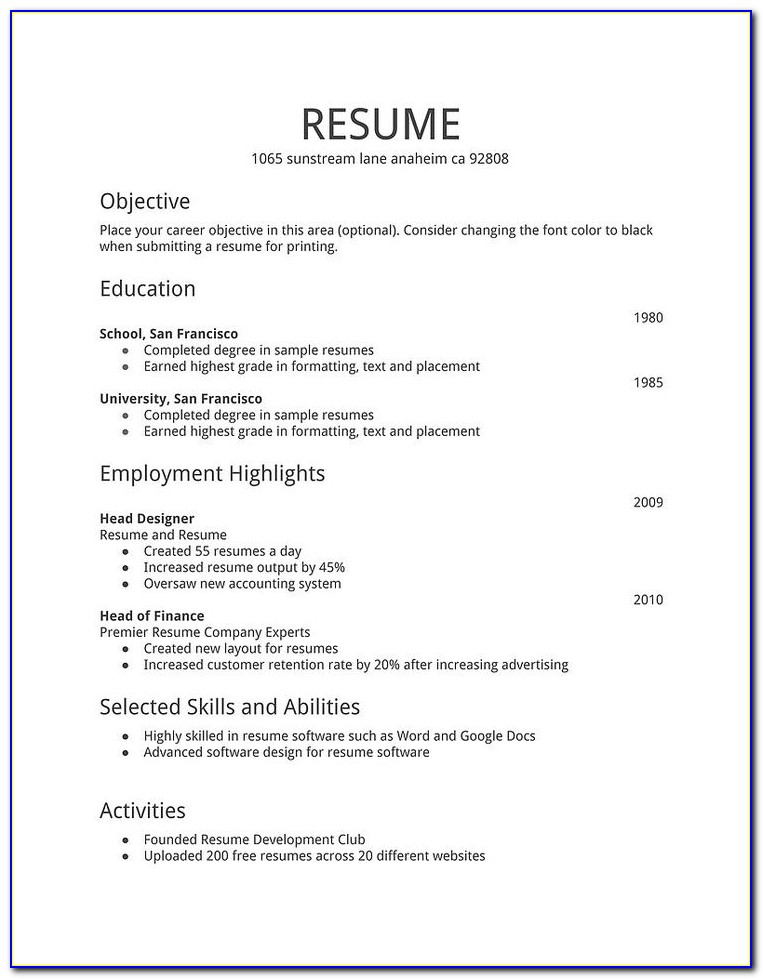 Simple Easy Resume Examples