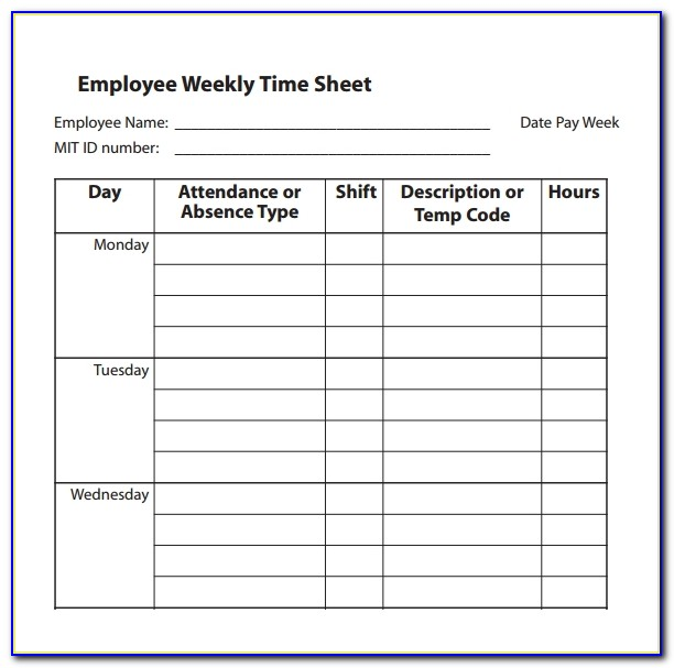 Simple Employee Timesheet Template