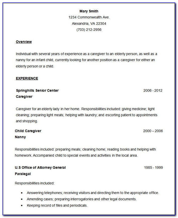 Simple Example Of Resume For Job