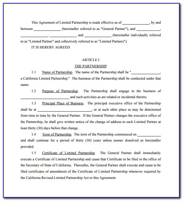 Simple General Partnership Agreement Form