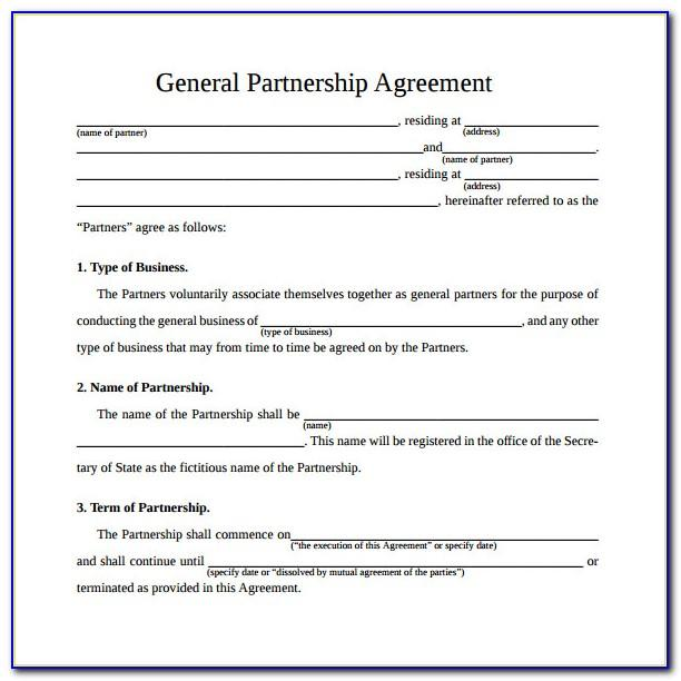 Simple General Partnership Agreement Template