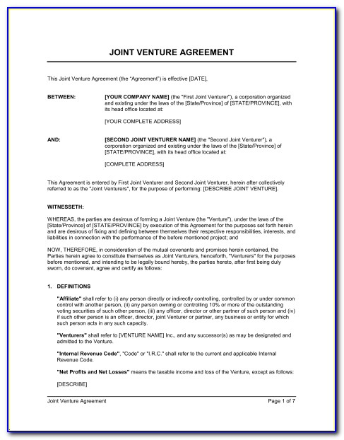 Simple Joint Venture Agreement Template Doc