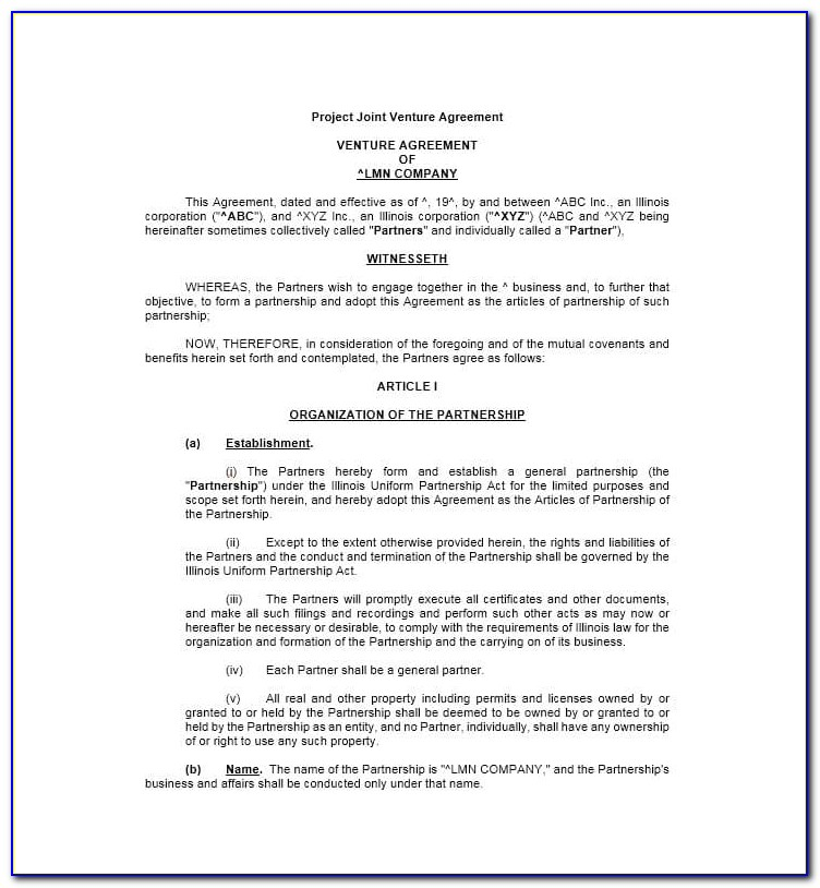 Simple Joint Venture Agreement Template Uk