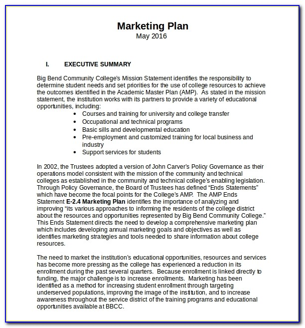Simple Marketing Plan Outline Template