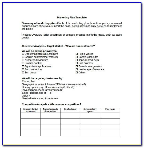 Simple Marketing Plan Template Doc