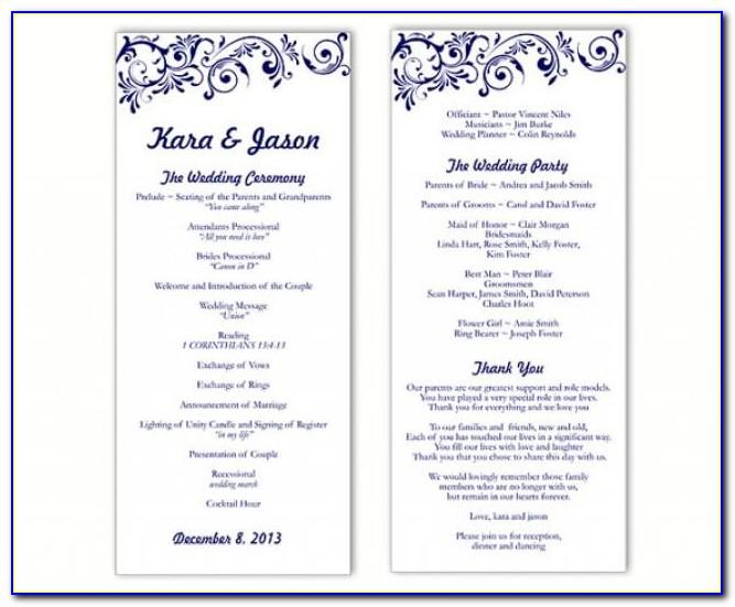 Simple One Page Wedding Program Template
