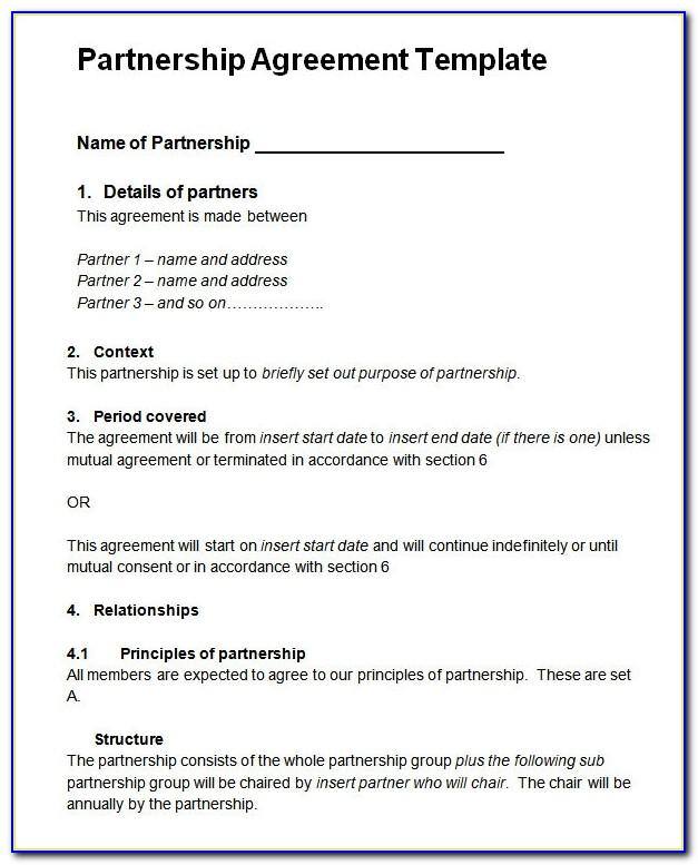 Simple Partnership Agreement Template Uk