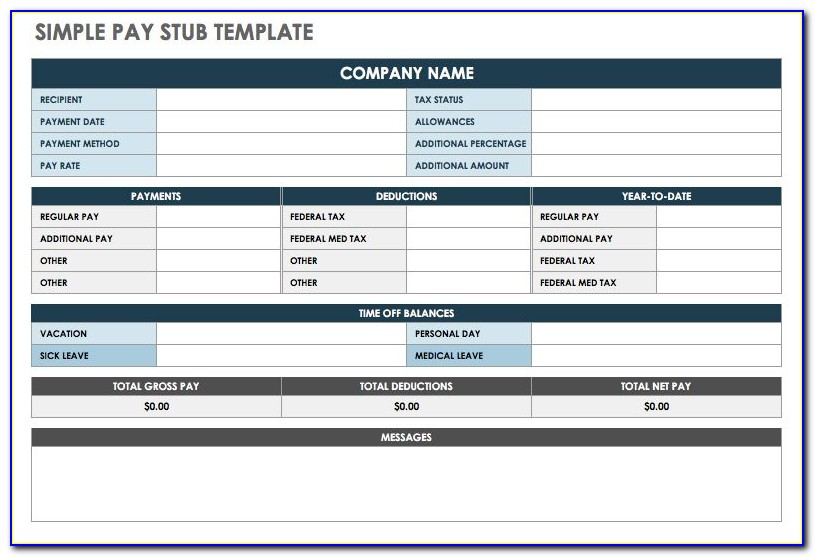 Simple Pay Stub Template Excel