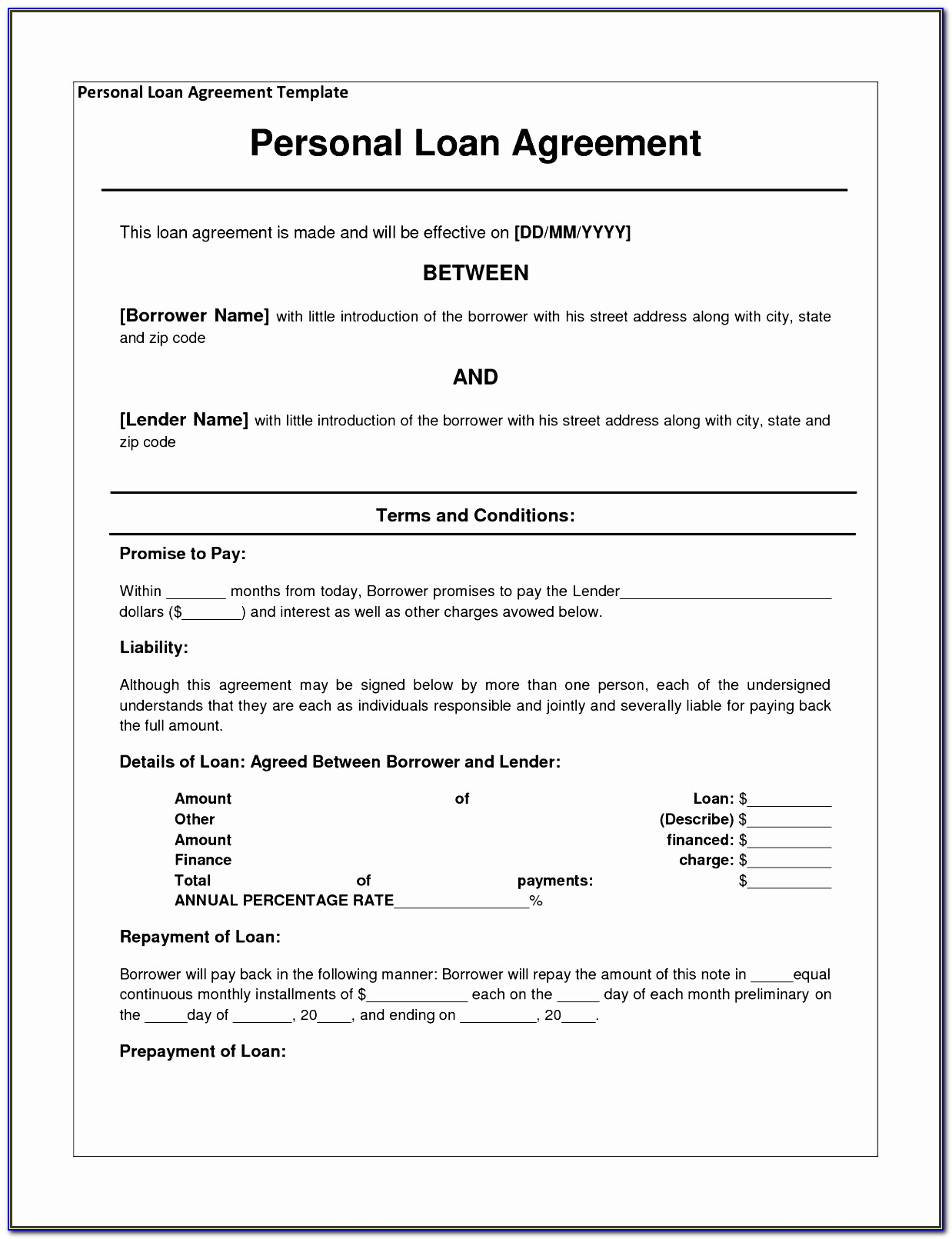 Simple Promissory Note For Loan