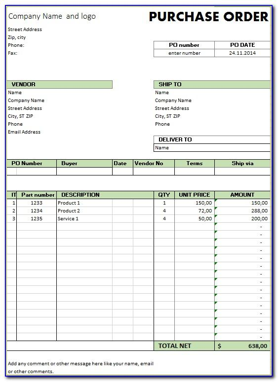 Simple Purchase Order Template Excel