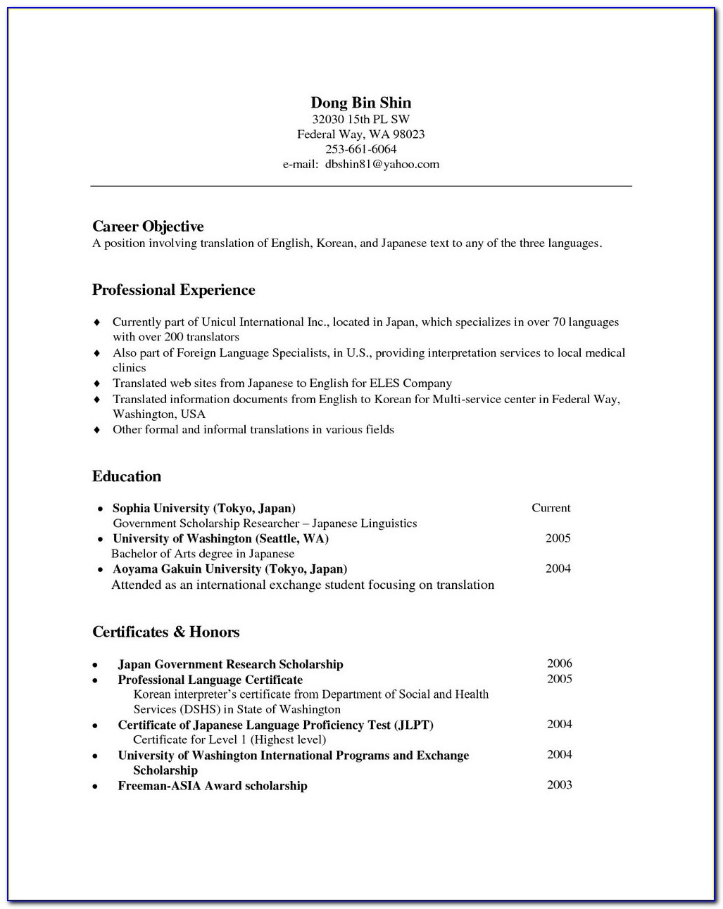 Simple Resume Format Download In Ms Word Free Download