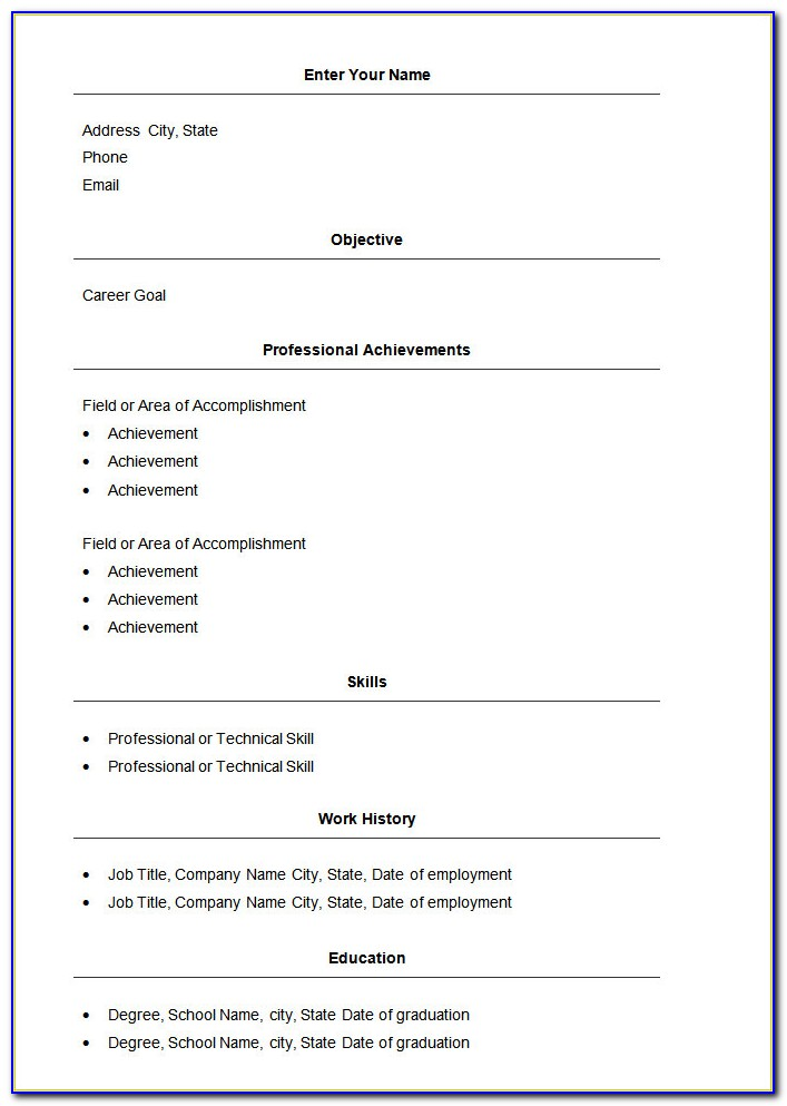 Simple Resume Format For Freshers In Ms Word Free Download