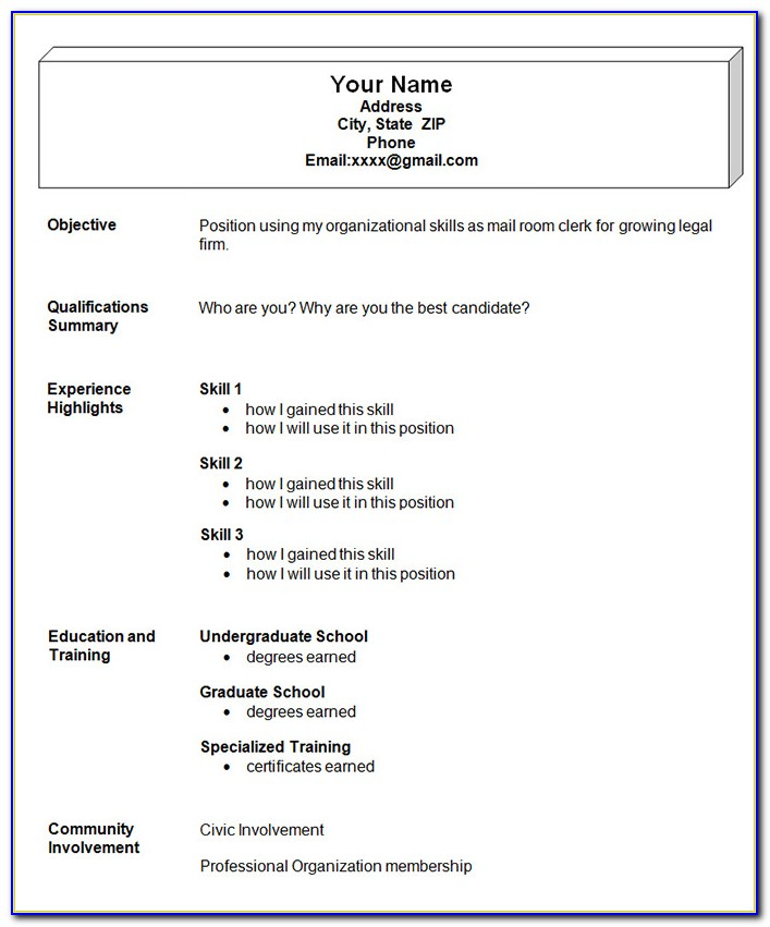 Simple Resume Format Freshers Free Download