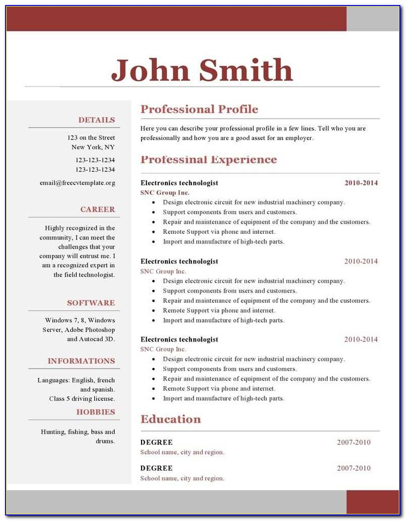 One Page Resume Format Best E Page Resume Template Pq E75848