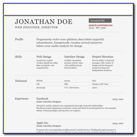 Simple Resume Website Template Free