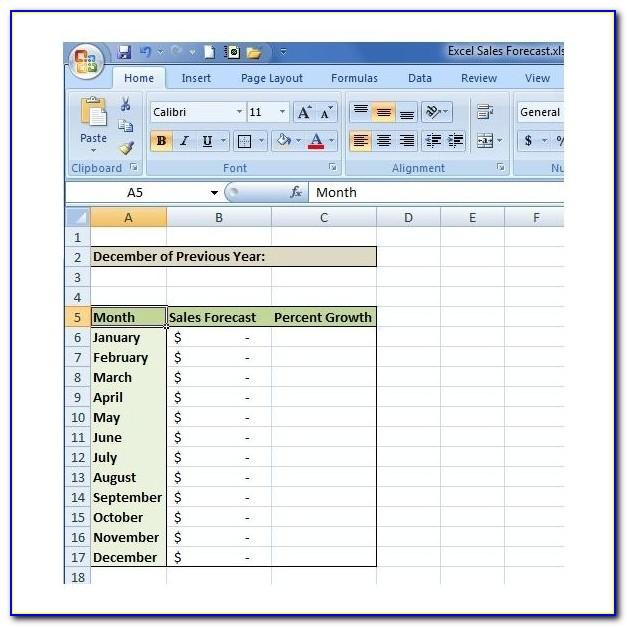 Simple Sales Forecast Template Excel
