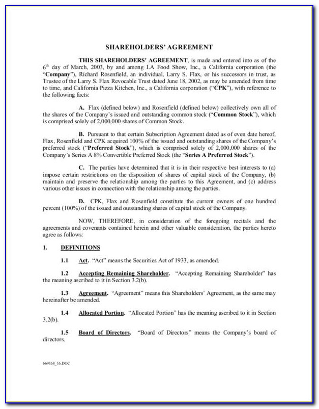 Simple Shareholders Agreement Template Free