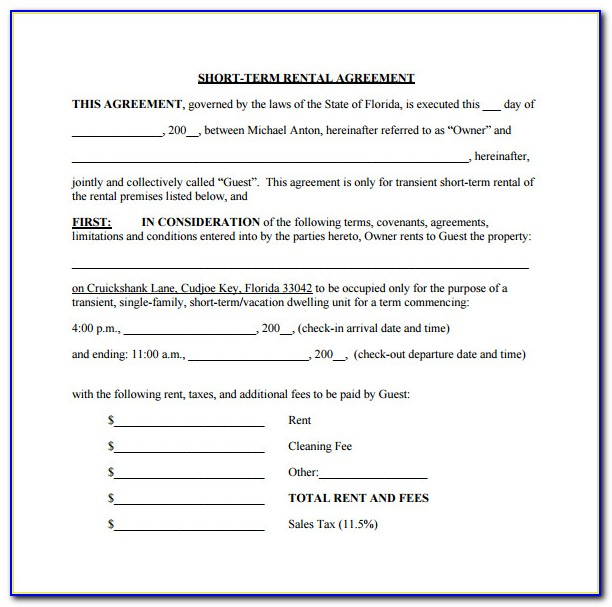 Simple Short Term Lease Agreement Template