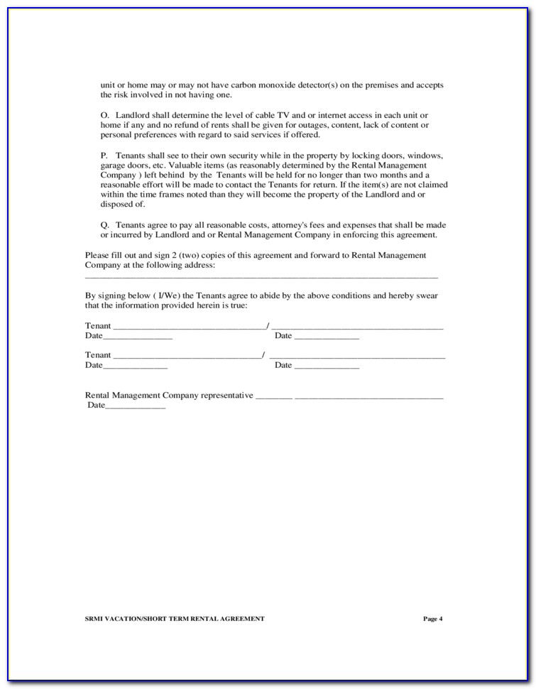 Simple Short Term Rental Agreement Form