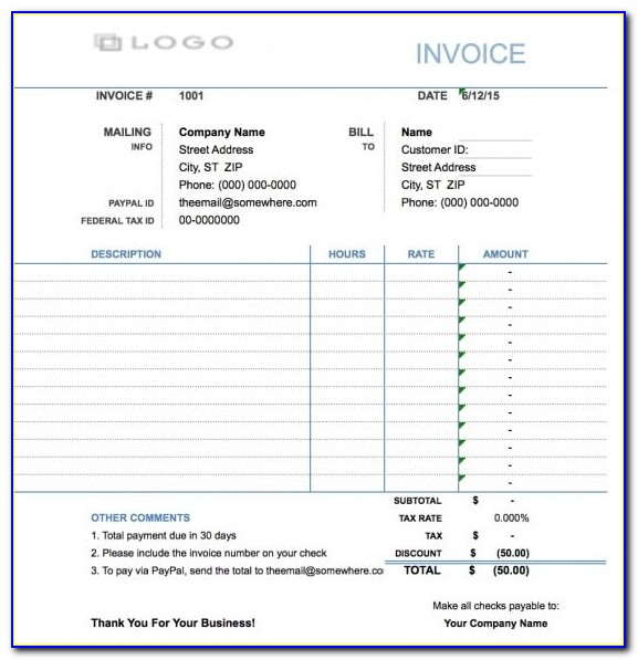 Simple Template For Invoicing