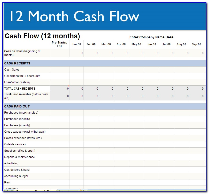 Small Business Cash Flow Projection Excel Template