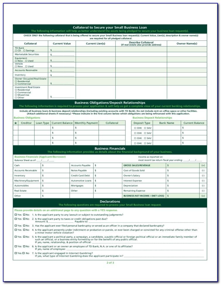 Small Business Loan Document Template