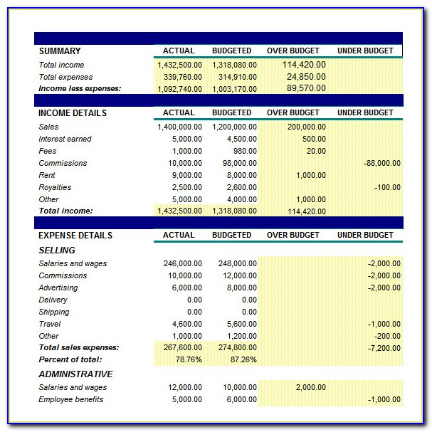 Small Business Monthly Budget Template Excel