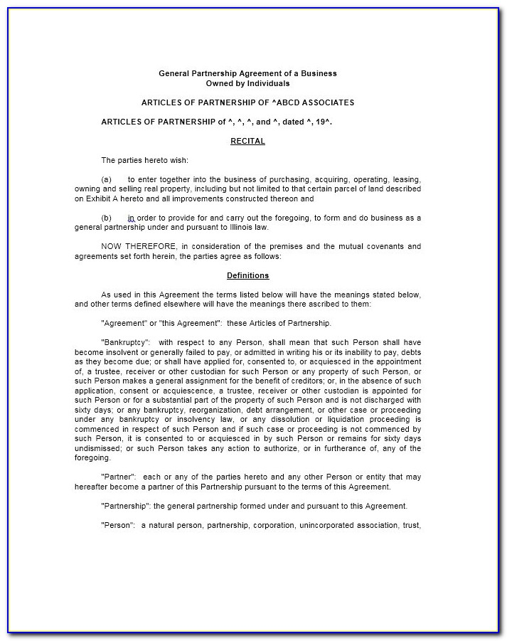 Small Business Partnership Agreement Free Template