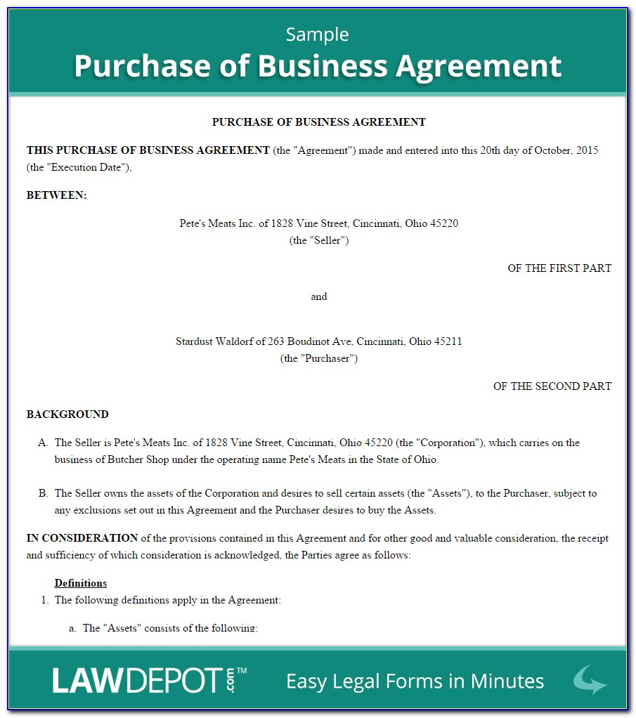 Small Business Purchase Agreement Template Free