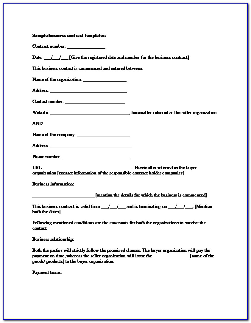Small Business Sales Contract Sample