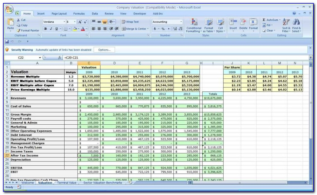 Small Business Spreadsheet Example