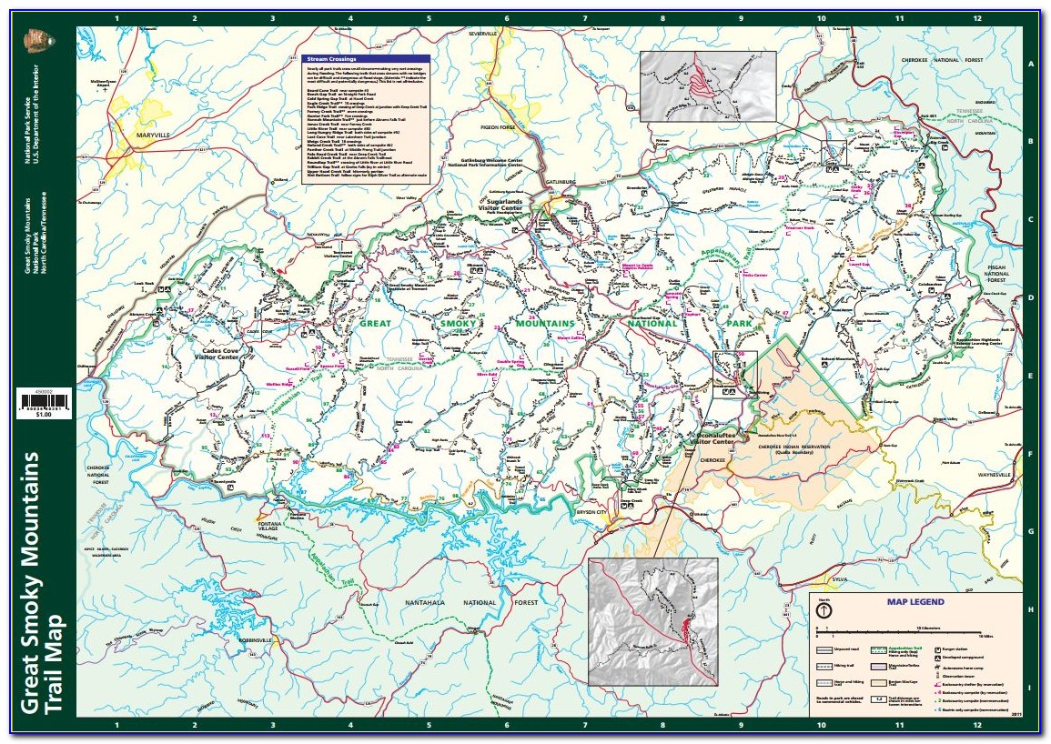 Smoky Mountain National Park Hiking Map