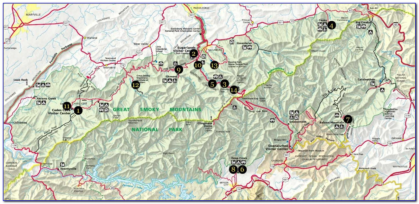 Smoky Mountain National Park Hiking Trails Map