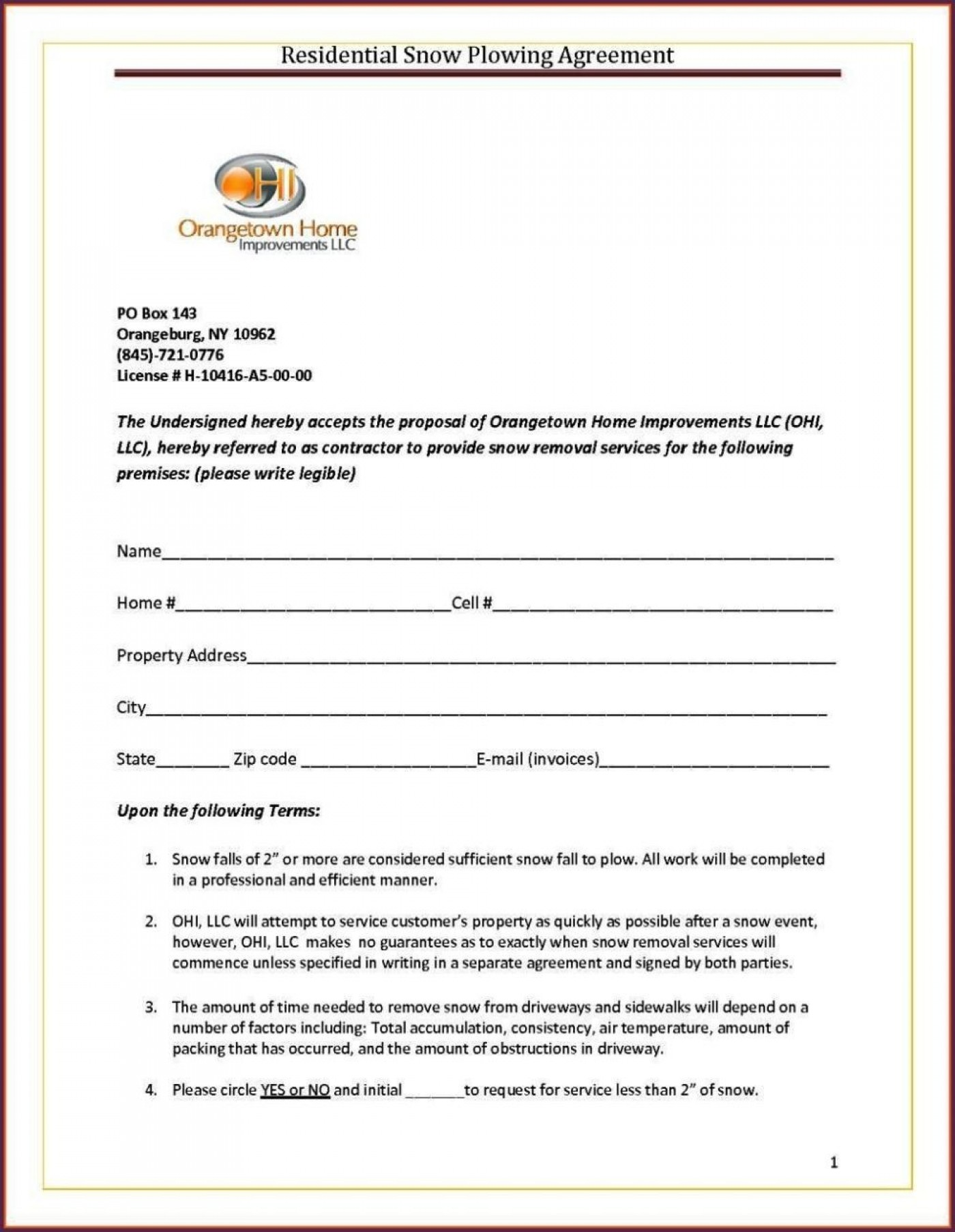 Snow Plow Agreement Template