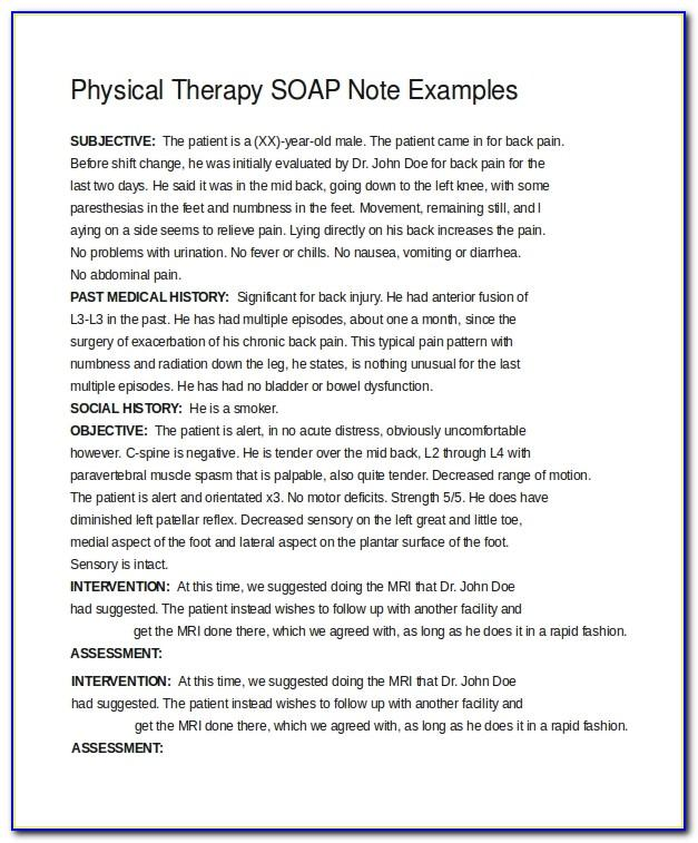 Soap Note Sample Physical Therapy