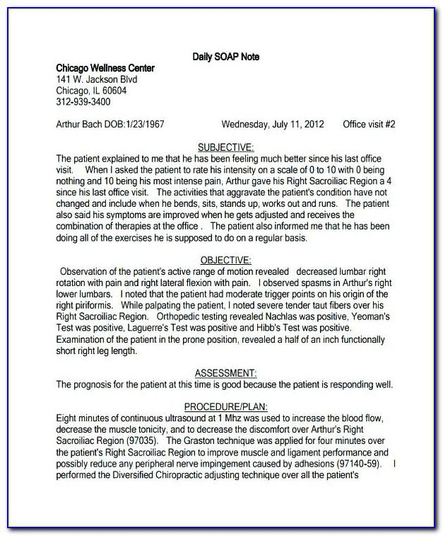 Soap Note Template Physical Therapy