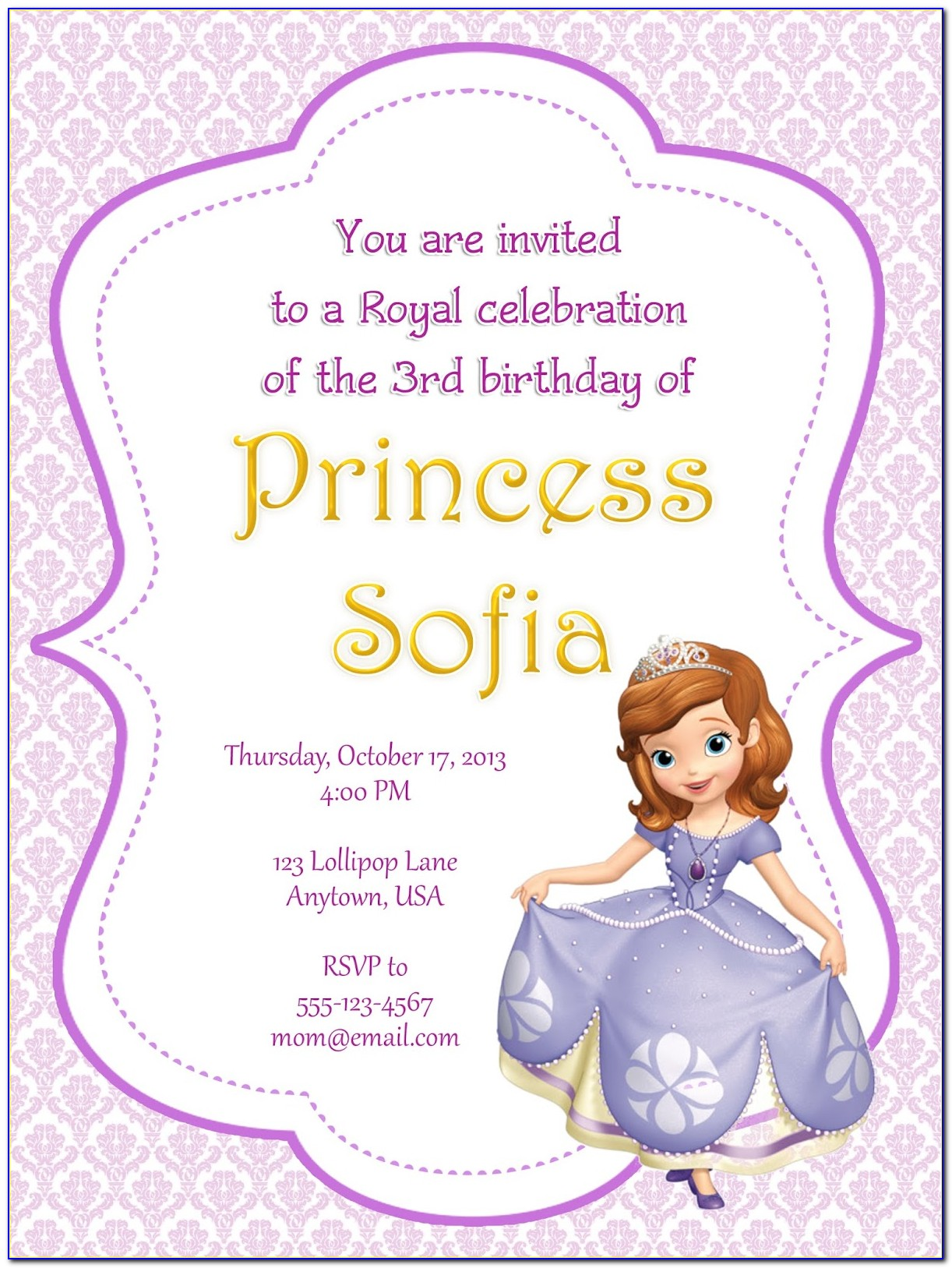 Sofia The First Party Invitation Free Template